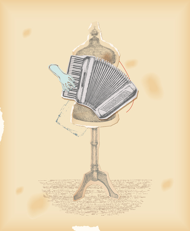 accordion: Vintage collage. Play the music not the instrument