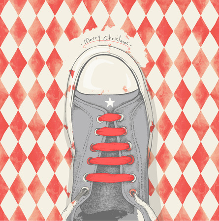 shoelace: Time for Christmas. Red shoelace