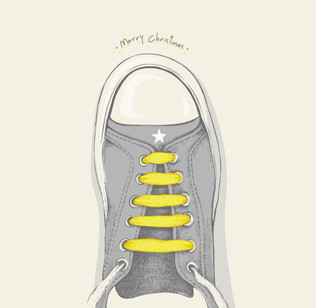 shoelace: Time for Christmas. Yellow shoelace