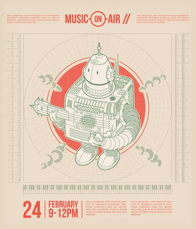 robot vector: Music-on-air. Music theme poster