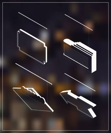 marquee: Isometric marquee banners. White drawing on dark background.