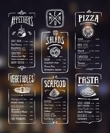 menu: Menu template. White drawing on dark background. Appetizers, vegetables,salads, seafood, pizza, pasta. Illustration