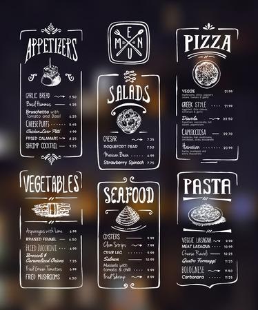 Modelo del menú. Dibujo en blanco sobre fondo oscuro. Aperitivos, verduras, ensaladas, mariscos, pizza, pasta. Foto de archivo - 49481241