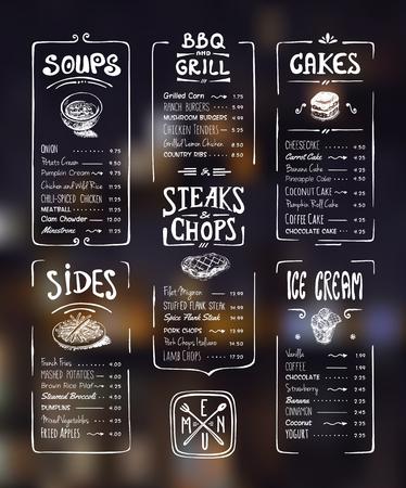 speisekarte: Menüschablone. Weiß-Zeichnung auf dunklem Hintergrund. Suppen, Seiten, Grill, Steaks Koteletts, Kuchen, Eis