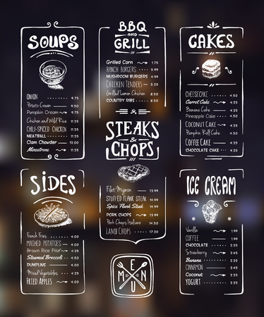 Menu template. White drawing on dark background. Soups, sides, bbq  grill, steaks  chops, cakes, ice cream Illustration