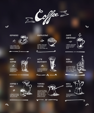 macchiato: Coffee menu. White drawing on dark background