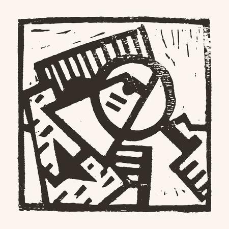 01: Linocut geometric character- 01