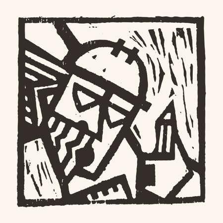 03: Linocut geometric character- 03