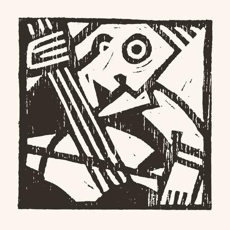 Linocut geometric character- 08 Illustration