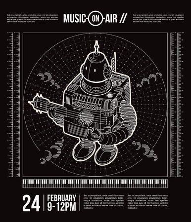 robot vector: Music theme poster