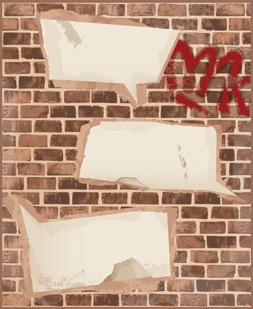 cement: Speech bubbles on brick wall texture Illustration