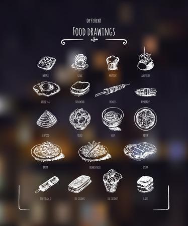 speisekarte: Verschiedene Lebensmittel Zeichnungen. Wei�-Zeichnung auf dunklem Hintergrund.