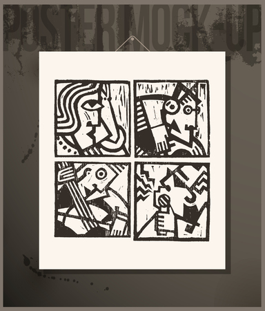 vector art: Poster- Linocut Abstract Characters Illustration