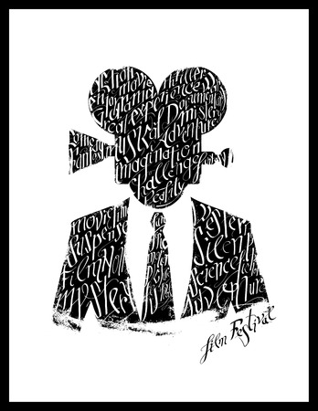 movie poster: Film festival poster. Calligraphy silhouette