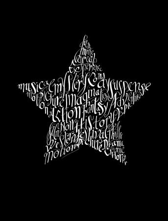 Film festival poster. Calligraphy star shape