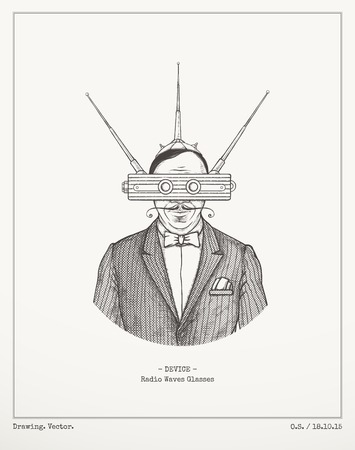 vintage wave: Radio waves glasses.Vector