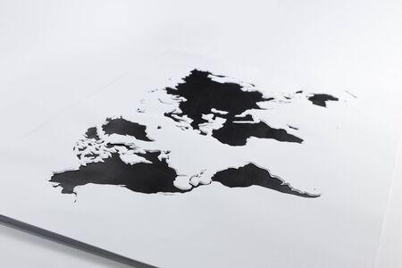 cut paper: World map. Cut out paper