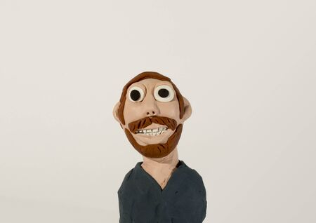 clay modeling: Plasticine character. Man with beard