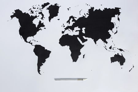 paper cut out: World map. Cut out paper