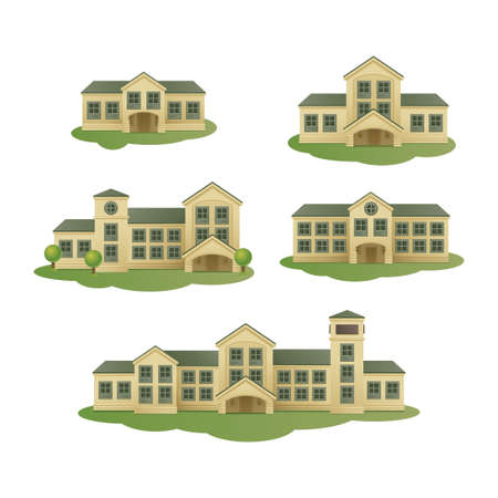 windows home: Buildings. Vector set Illustration