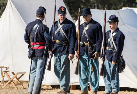 Inspection Time at a Civil War reenactment. Stock Photo - 48612068
