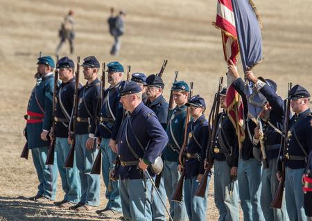 period costume: Civil War reenactors before  a mock battle.