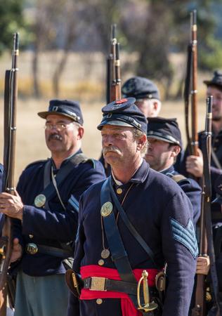 Civil War reenactors before  a mock battle. Stock Photo - 48612063