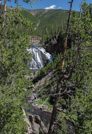 extreme angle: Gibbon Falls in Yellowstone Stock Photo