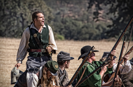 reenactment: Rally the Troops, Civil War Reenactment at Anderson, California. Editorial