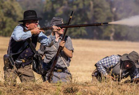 reenactment: Found a Target, Civil War Reenactment at Anderson, California.