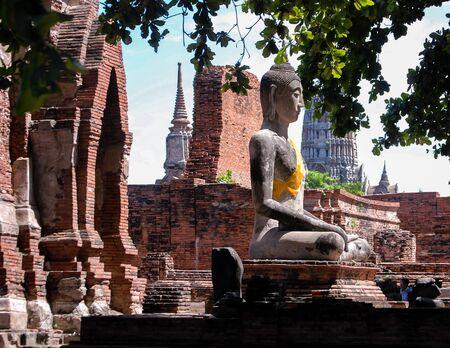 monk robe: Buddha,  Ayutthaya Historical Park, Thailand