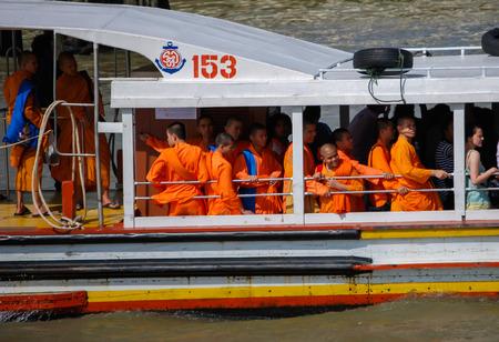 chao phraya: Monks on a water Taxi on the Chao Phraya River, Bangkok.