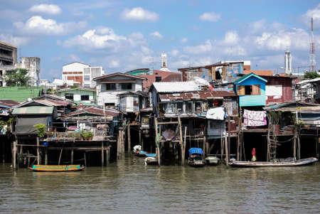 phraya: Homes along the Chao Phraya River, Bangkok, Thailand