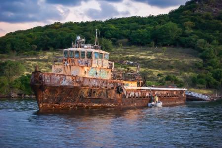 simpson: Old Wreck In Simpson Bay, St. Maarten