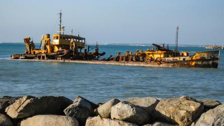 shipwreck: Shipwreck on St. Maarten Stock Photo