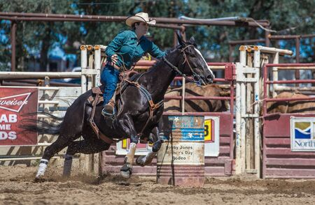 cottonwood: Barrel Racer at the rodeo in Cottonwood, California.