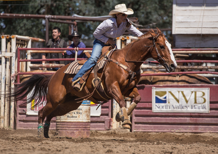 Barrel Racer at the rodeo in Cottonwood, California.