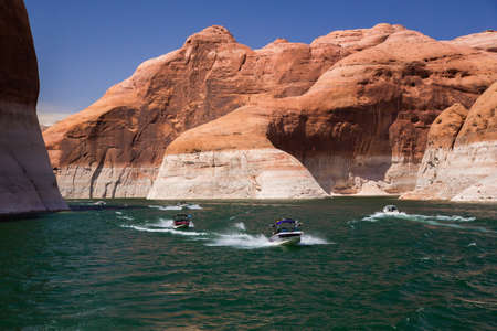 speedboats: Speedboats on Lake Powell, Arizona and Utah Stock Photo