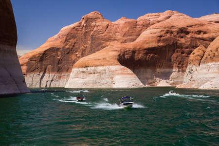 lake powell: Speedboats on Lake Powell, Arizona and Utah Stock Photo