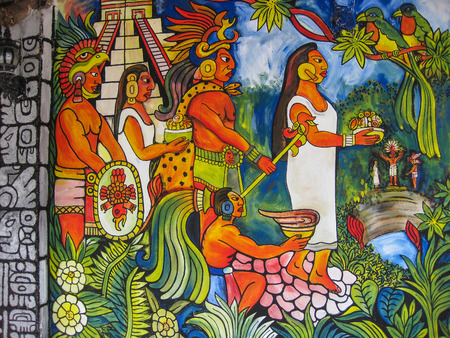 the mural: Mural Ancient Mayans Offering to the Gods, Cancun, Mexico Editorial