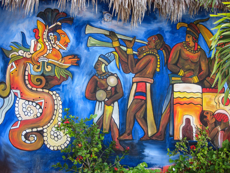 Mura of Mayan Musicians, Cancun, Mexico