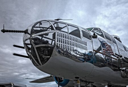 aluminum airplane: B-25 Mitchell Bomber, Redding Airshow Editorial