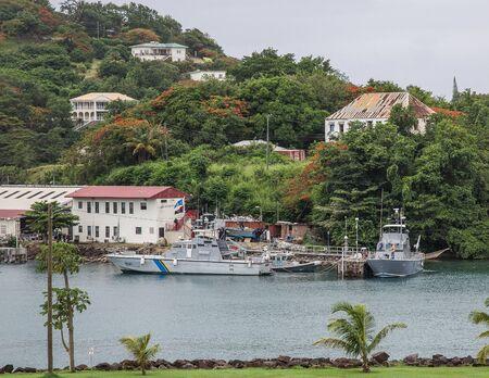 st lucia: Coast Guard Ships in St. Lucia Harbor Editorial
