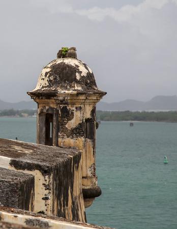 san juan: Sentry Box Lookout, Old San Juan, Puerto Rico Stock Photo