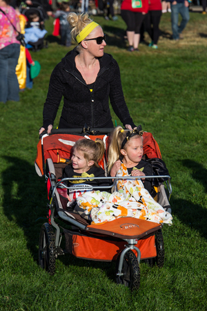 Mother and Children at the CASA Superhero Charity Run, Redding, California.