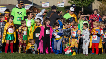 lining up: Lining up for the Race, CASA Superhero Charity Run, Redding, California. Editorial