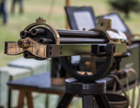 red bluff: Gatling Gun,Civil War Reenactment, Red Bluff, California