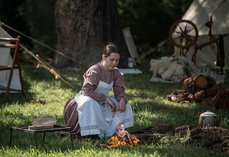 red bluff: Woman Cooking, Civil War Reenactment, Red Bluff, California