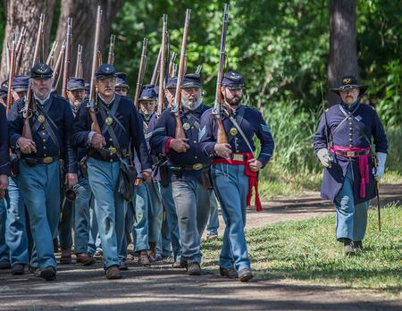bluff: Union Soldiers, Civil War Reenactment, Red Bluff, California