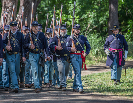red bluff: Union Soldiers, Civil War Reenactment, Red Bluff, California